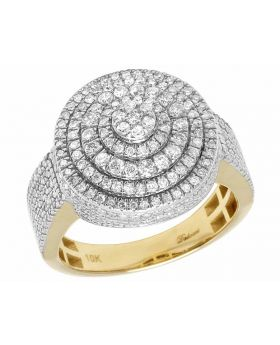 10K Yellow Gold Real Diamond Round Lollipop Men's Pinky Ring 2 Ct