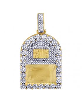 10K Yellow Gold Real Diamond RIP Pendant Charm 1 CT 1.65""