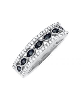 10K White Gold Blue And White Diamond Criss Cross Wedding Ring (0.50ct)