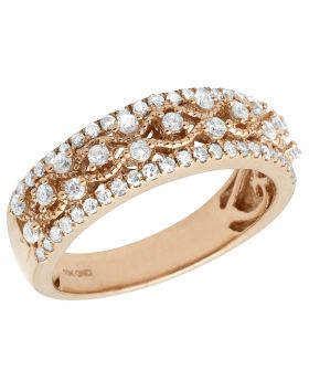 Ladies 10K Rose Gold Real Diamond Vine Designer Engagement Ring Band .60ct