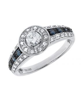 Blue White Solitaire Diamond Engagement Ring (0.60 ct)
