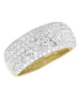 10k Yellow Gold Diamond Domed Pinky Band Ring 2.30 ct