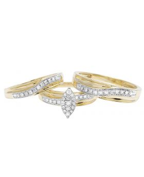 10K Yellow Gold Real Diamond Marquise Trio Ring Set 0.50 ct