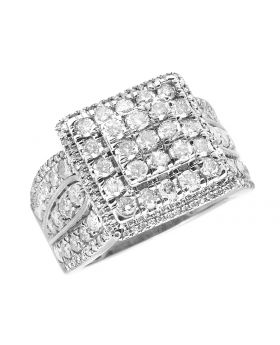 Ladies 10K White Gold Real Diamonds Square Cluster Engagement Ring 2.0ct