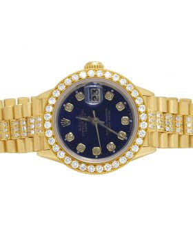 Ladies 18K Yellow Gold Presidential Blue Dial Diamond Watch 8.0 Ct