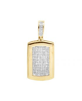 10K Yellow Gold Real Diamond Dogtag Pendant 1/2 CT 1.75""