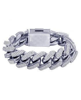 "White Gold 21MM Diamond Iced Out Miami Cuban Link Bracelet 8.75"" 21CT 337 Gms"