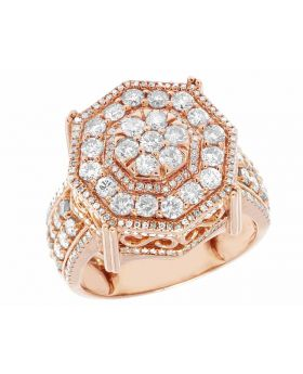 10K Rose Gold Real Diamond Octagon 3D Real Diamond Ring 3.15 ct