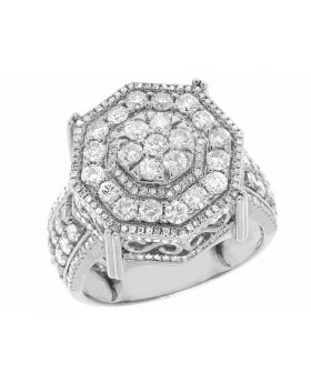 10K White Gold Real Diamond Octagon 3D Real Diamond Ring 3.15 ct