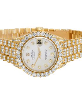Ladies Rolex 18K Yellow Gold 26MM President VS Diamond Watch 13.75 Ct