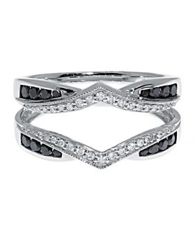 Engagement Ring Enhancer/Jacket in White Gold with Black and White Diamonds (0.50 ct)
