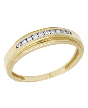 Men's 10K Yellow Gold Real Diamond One Row Band Ring 0.22 CT