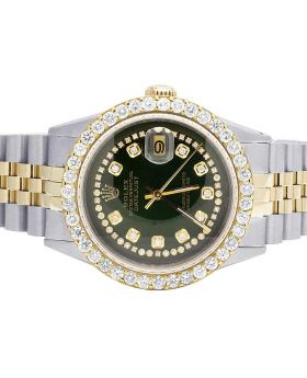 Rolex 18K/ Steel Datejust Two Tone 36MM Green Dial Diamond Watch 5.0 Ct