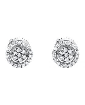 10K Mens Ladies White Gold Diamond Halo Cluster Stud Earrings 3MM 0.25ct