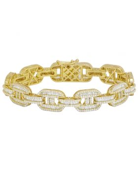 10K Yellow Gold 9CT Diamond Baguette 12.5MM GG Link Bracelet 8""