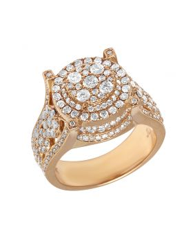 Mens 14K Rose Gold 4 Prong Cluster Diamond Pinky Ring 2.75CT
