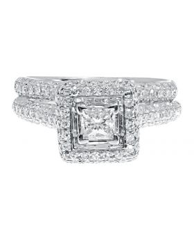 14k White Gold Princess Solitaire Diamond Pave Bridal Engagement Ring Set (1.25 ct)