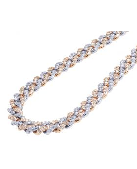 Two Tone White/Rose Gold Diamond Baguette Cuban Chain 21.65CT 12MM 18""