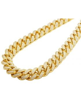 10K Yellow Gold Miami Cuban Real Diamond Necklace Chain 28.75 CT 15MM