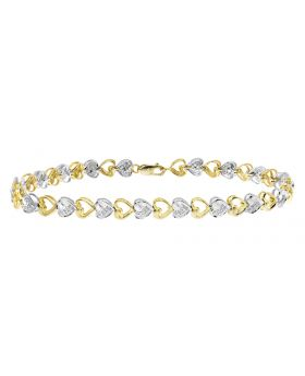 Ladies Two Tone Heart Bracelet with Round Diamond (0.25 ct)