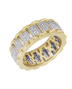 Mens 10K Yellow Gold Presidential Link Real Diamond Eternity Ring Band .90CT