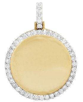 "Mens 10K Yellow Gold Memory Frame Medallion Diamond Photo Engrave Pendant 1.75"" 3CT"