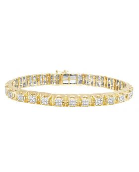 10K Yellow Gold Men's Square Cluster Real Diamond Bracelet 2CT 8.5""