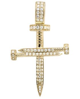 14k Yellow Gold Nail Cross Diamond 1.5 Inches Pendant (0.75CT)