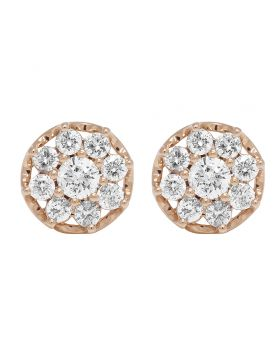 10K Rose Gold Diamond Flower Cluster Prong Stud Earrings 11mm 1.5 CT
