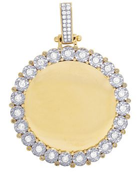 "Mens 10K Yellow Gold Memory Frame Real Diamond Pendant 2"" 1.35CT"