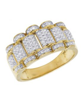 Mens 10K Yellow Gold Presidential Link Style Iced Diamond Ring Band .50CT