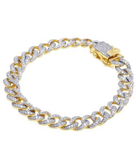 10K Yellow Gold Cuban Link Diamond Bracelet 4CT 9mm 8""
