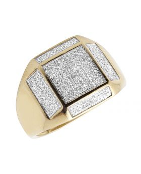Men's 10K Yellow Gold Real Diamond Square Pinky Engagement Ring 0.55ct