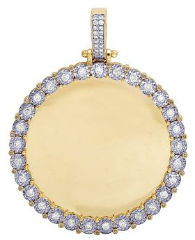 "Mens 10K Yellow Gold Memory Frame Real Diamond Pendant 2.25"" 1.5CT"