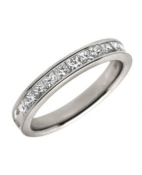 14K White Gold Invisible Princess Genuine Diamond Ring Band 0.75 ct 4MM