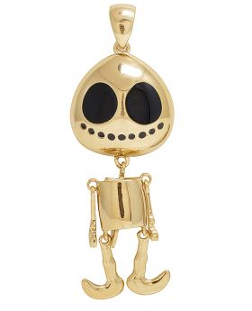14K Yellow Gold Enamel Dancing Skeleton Pendant