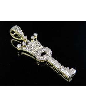 10k Yellow Gold Key Crowned Genuine Diamond Charm Pendant 0.65 ct 1.75""