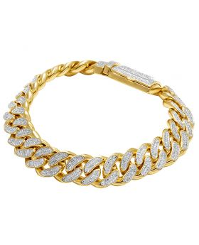 Real 10K Yellow Gold Diamond 13MM Miami Cuban Bracelet 4 CT 8.5""