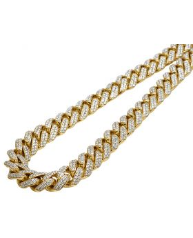 Mens 10K Yellow Gold Miami Cuban Choker Big Lock Diamond Necklace Chain 13mm 22""