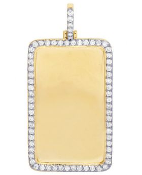 "Mens 10K Yellow Gold Memory Frame Real 1 Row Diamond Pendant 2.25"" 2.15CT"
