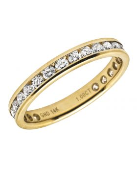 Ladies 14K Yellow Gold One Row Real Diamond Eternity Band Ring 1.0 Ct