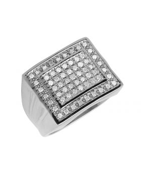 10K White Gold Double Square Real Diamond Men's Ring 0.50ct 16MM