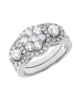 14k White Gold Round Diamond Three Stone 3 Pc Ring Set (2 ct)