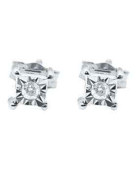 4mm Diamond Square Fanook Studs in White Gold (0.05 ct)
