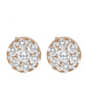 14K Rose Gold Diamond Flower Cluster Earrings 7MM 0.65CT