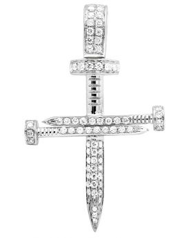 14k White Gold Nail Cross Diamond 1.25 Inches Pendant 0.70ct