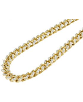 10K Yellow Gold 15.75CT Diamond 12MM Miami Cuban Necklace 22""