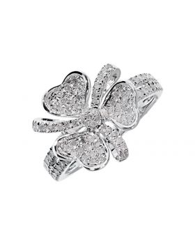 Round Pave Diamond Fashion Ring in Sterling Silver (0.70 ct)