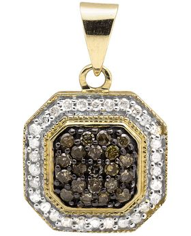 10K Yellow Gold Brown White Genuine Diamond 1/2 Inch Square Charm Pendant 0.33ct