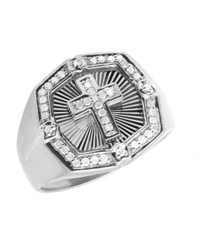 Mens 10K White Gold Octagon Cross Real Diamond Ring 0.33ct